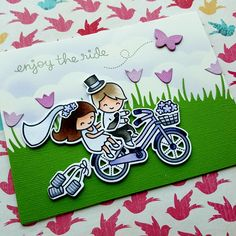 I wanted to create a wedding card today, with the Bicycle Built For You stamp set from Lawn Fawn. I started by stamping all the images....
