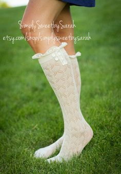 Oatmeal Lace Boot Socks by SimplySweetbySarah on Etsy