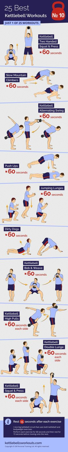 A giant kettlebell and bodyweight circuit that is completed only once. Each exercise is performed for 60 seconds with a 15 seconds rest before moving on to the next exercise. #kettlebell #exercise #bodyweight