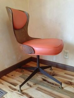 Take A Seat Vintage Mid Century Modern Swivel Desk Chair Office Furniture Eames Era Atomic Design Solid Bent Wood Industrial Metal Legs on Etsy, $210.00