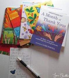 This month I'm using Lori Portka's A Month of Thank Yous  Gratitude Kit to send out 30 postcards of gratitude. And it is pretty much changing my life. (Use code THANKFUL for 15% off.)