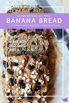 Healthy Vegan Banana Bread recipe that doesn't taste healthy! and vegan! Raisins optional in this plant-based recipe. Vegan Brunch Recipes, My Recipes, Baking Recipes, Healthy Recipes, Vegan Banana Bread, Banana Bread Recipes, Plant Based Eating, Vegan Sweets, Clean Eating