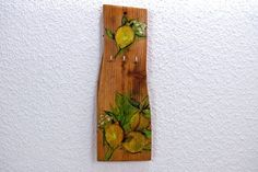 Schlüsselbrett Zitrone Topflappen Hakenleiste von SchlueterKunstundDesign - Wohnzubehör, Unikate, Treibholzobjekte, Modeschmuck aus Treibholz auf DaWanda.com
