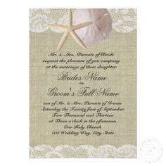 Website for lots of different types of burlap invites including Beach Wedding Invitations.  :)