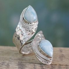 Larimar wrap ring, 'Dreamy Duo' - Wrap Style Ring in Sterling Silver with Larimar Gems
