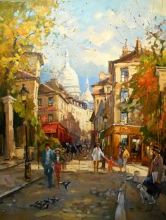 French painter** Robert Ricart was born in Bruay en Artois. He studied at the Etudes Arts Graphiques and the Beau Arts School in Paris where he still resides. Ricart became famous on the art market for his Paris vedutas. He was trained at the prestigious Académie des Beaux-Arts, initially exhibited especially in the West France, from the early 1970s in Paris and other towns, received numerous awards** and his works are owned by European as well as American museums.