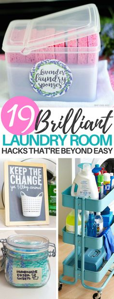 I ADORE these laundry room organization tips! They're exactly what I needed to clean my laundry room! These 19 laundry room hacks are perfect for organizing and cleaning up your old laundry room. Learn how to DIY detergent and sort socks! Diy Hacks, Home Hacks, Cleaning Hacks, Cleaning Room, Bathroom Cleaning, Laundry Room Organization, Organization Hacks, Laundry Rooms, Laundry Detergent Storage