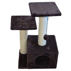 Pet Supplies : Iconic Pet Three- Tiered Plush Cat Furniture Tree in Brown Color-Two Sisal Rope Cat Scratching Posts with Square Cave Condo Works As Kitty Activity Center, Post with Plush Toy for Kitten Entertainment. Cat Tree Condo, Cat Condo, Cat Scratching Tree, Cat Entertainment, Sisal Rope, Brown Cat, Cat Accessories, Cat Furniture, Pet Supplies