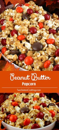 Peanut Butter Popcorn - sweet and salty popcorn covered in peanut butter, marshmallows and yummy Peanut Butter M&M's. A delicious Peanut Butter dessert that is super easy to make! It would be a great Halloween Treat or a Fall movie night dessert! Pin this delicious popcorn treat for later and follow us for more great Thanksgiving Food Ideas. Sweet Popcorn, Popcorn Mix, Candy Popcorn, Gourmet Popcorn, Popcorn Snacks, Popcorn Recipes, Jello Popcorn, Peanut Butter Popcorn, Peanut Butter Desserts