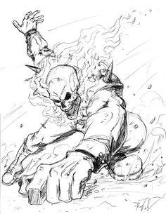 Ghost Rider by SilentKV on DeviantArt Cartoon Sketches, Art Sketches, Art Drawings, Ghost Rider Drawing, Character Art, Character Design, Ghost Rider Marvel, Marvel Drawings, Marvel Comics Art