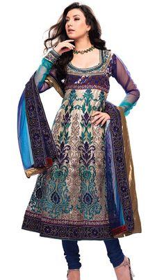 Anarkali with net sleeves
