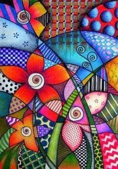 by Sandra p.Köche by darcy (Bottle Painting Mandala) Arte Pop, Pop Art, Art Fantaisiste, Whimsical Art, Art Plastique, Doodle Art, Art Lessons, Art Drawings, Art Projects