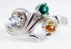 Emerald Citrine Aquamarine Silver Ring Round Cut Sterling Bazaars R Us Custom Jewelry