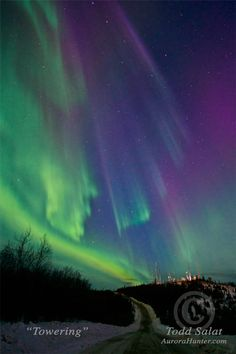 Towering, aurora borealis photo from Alaska