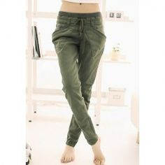 $9.72 Stylish Lace-Up Solid Color Good Cut Cotton Blend Harem Pants For Women