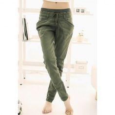 $9.72 Stylish Lace-Up Solid Color Good Cut Cotton Blend Harem Pants For Women