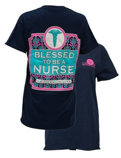 Southern Couture Preppy Blessed to be a Nurse Girlie Bright T Shirt Available in sizes- S,M,L,XL,2X,3X