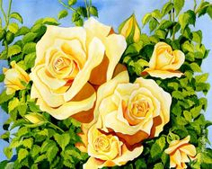 Charlotte's Garden - Yellow Roses Painting by Janis Grau - Charlotte's Garden - Yellow Roses Fine Art Prints and Posters for Sale