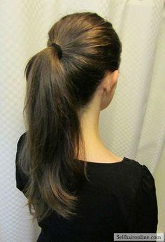 "Nice 12""+ silky virgin brown hair w/natural red golden highlights"