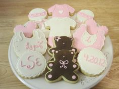 Decorated Baby Cookies for Girl  Bibs Onsies by SweetTsConfections, $30.00