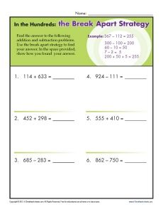 http://This worksheet helps your student practice adding and subtracting within 1000 using the break apart strategy.