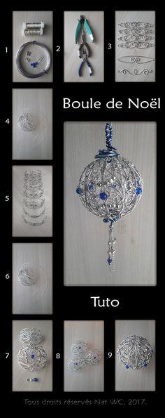 Décoration d'intérieur : Boule de Noël « L'incroyable » - Réalisation [ Fait-Main ] avec du fil d'aluminium (Ø1), des fils métalliques (Ø0,3), des perles métalliques et des perles de verre. Attache en fils d'aluminium (Ø1,5/Ø2). Pendentif sous la boule : chaines et anneaux en acier, perles métalliques et perles en verre. / Ref. : Tuto_Boule-de-Noel_v2.