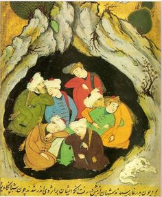 7 sufi masters trying to have one dream together (Persian drawing 12th century)