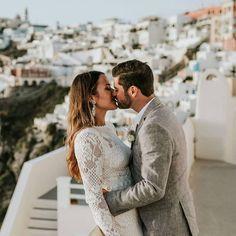 Santorini Wedding, Santorini Greece, Bhldn, Best Day Ever, Beautiful Couple, Bride Groom, Gowns, In This Moment, Couple Photos
