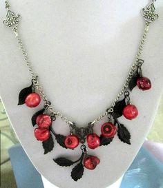 Red Necklace Black Necklace Red and Black by JewelsInspire on Etsy