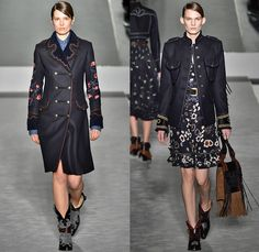 Fay 2016-2017 Fall Autumn Winter Womens Runway Catwalk Collection Looks - Milan Fashion Week Milano Moda Donna Italy - Denim Jeans California Girl Western Cowgirl Navy Military Officer Outerwear Coat Flowers Floral Ornamental Tribal Embroidery Embellished Bedazzled Jewels Sequins Sheer Chiffon Shearling Jacket Shirtdress Leather Contrast Stitching Cargo Pockets Skirt Frock Ruffles Blouse Chunky Knit Sweater Handbag