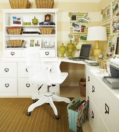 A corner home office with striped walls!