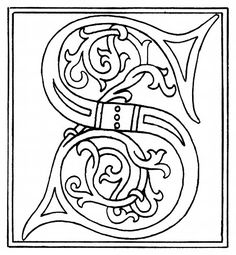 Every letter of the alphabet # embroidery designs Alphabet A, Celtic Alphabet, Alphabet Images, Graffiti Alphabet, Illuminated Letters, Illuminated Manuscript, Colouring Pages, Coloring Books, Embroidery Designs