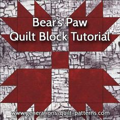 Learn to make a Bear's Paw quilt block. Instructions included for 3 sizes. One of many blocks in our Free Quilt Block Patterns Library.