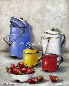 12-Beaux tableaux de Stella Bruwer Stella Art, Creation Photo, Painting Still Life, Watering Can, Decoupage, Creations, Canning, Vintage, Postcards