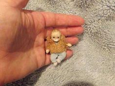 Miniature handmade MINI TINY BABY BOY ooak DOLLHOUSE ART DOLL JOINTED DOLLSHOUSE