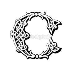 Celtic letter C Royalty Free Stock Vector Art Illustration