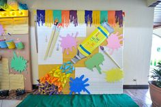 Vince and Chloe Art Attack Party - Photowall Top Table Ideas, Rainbow Art, Birthday Decorations, Party Themes, Chloe, Party Party, Arts And Crafts, Manila, Dolls