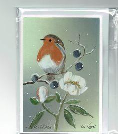 Grüße - Grußkarte - Rotkehlchen, handgemalt - ein Designerstück von Vogelmalerin bei DaWanda