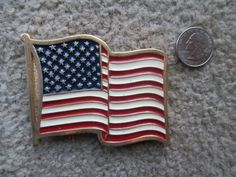 Buckle Vintage US Flag Red White Blue Enamel Gold by HobbitHouse