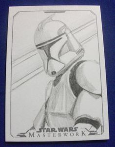 Ends today! 2015 Topps Star Wars Masterwork Clone Trooper Auto Sketch by Brent Ragland - 1/1