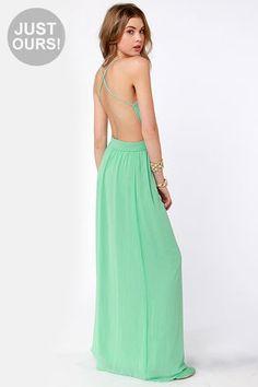 Rooftop Garden Backless Mint Green Maxi Dress