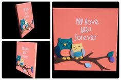 3D Nursery Art - Owls on a Branch with Leaves - I'll love you forever