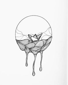 Paper boat drawing by Holly Wilkinson Pencil Art Drawings, Tattoo Drawings, Drawing Sketches, Easy Drawings, Zombie Drawings, Sketch Ink, Boat Illustration, Valentines Day Drawing, Origami Boat