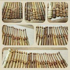 Crochet hooks turned from wood