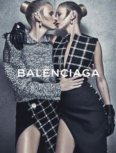 """Supermodels Kate Moss and Lara Stone starring in the Balenciaga Fall Winter 2015 ad campaign photographed by Steven Klein and styled by Panos Yiapanis at Intrepid London: """"For the FW15 campaign, I thought of pairing two iconic models together who could play different characters, both individually but in conversation,"""" Wang"""