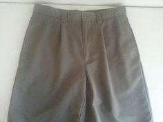 VAN HEUSEN Men's Shorts 32 Dark Beige Solid Pleated Polyester Casual EUC 4 Pocke #VanHeusen #CasualShorts #ebay #VanHeusen #CasualShorts