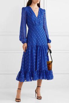 Cobalt and blue fil coupé silk-chiffon Concealed hook and zip fastening at back silk; Silk Chiffon, Chiffon Dress, Silk Dress, Silk Satin, Long Sleeve Midi Dress, Silk Skirt, Ruffle Dress, Prom Dress, Wedding Dress