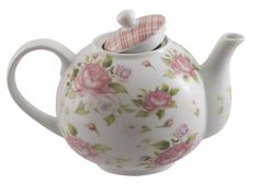 Our porcelain discount teapot has both dark pink and pale pink roses with green foliage encircling the tea pot with a gingham pattern on the lid. FDA approved. Dishwasher safe. 2 Inch Diameter Opening
