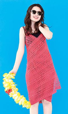 216ss-24 Beach Dress - free Japanese charted crochet pattern by Pierrot (Gosyo Co., Ltd). Nice mix of lace patterns, any size. Universal symbols.