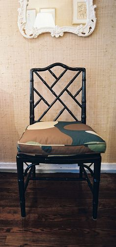 faux bamboo chair with camo print